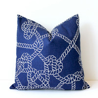 """Navy Blue and White Nautical knots Decorative Designer Pillow Cover 18"""" Accent Throw Cushion lake cottage rope modern"""