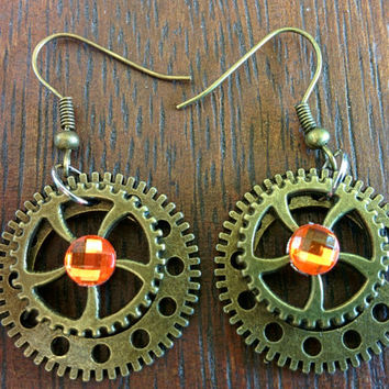 Steampunk Orange Rhinestone Earrings