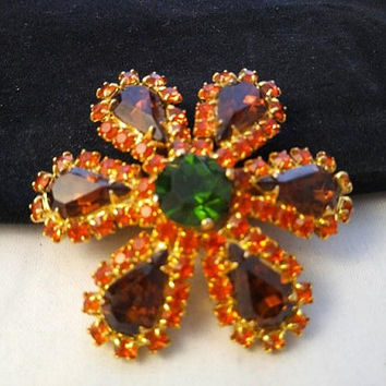 ON SALE High End Vintage Rhinestone Brooch * Mid Century Collectible * Vintage 1950's 1960's Orange Green Stone Jewelry