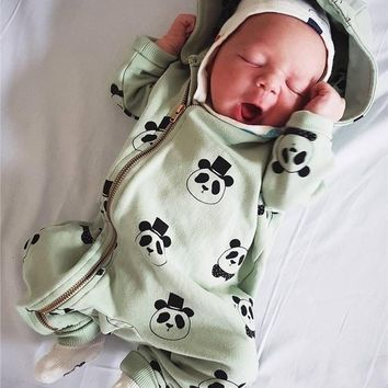 Lovely Soft Cotton Panda Printed Zipper Rompers