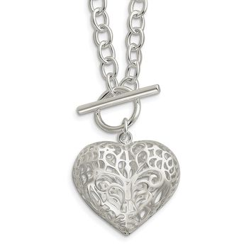 925 Sterling Silver Large Puffed Heart 18in Necklace 18 Inch