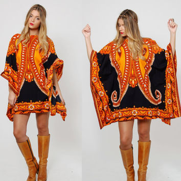 Vintage 60s Ethnic CAFTAN Mini Dress Amber & Black BUTTERFLY Sleeve Dashiki Psychedelic Hippie Dress Boho Poncho Tunic O/S