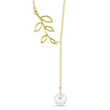 Tree Branch Lariat Necklace, 925 Sterling Silver, 14K Gold Plated Twig Pendant