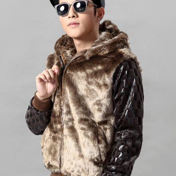 2013 new men's fur coat Korean Slim pu leather stitching for fur collar jacket winter hooded long sleeve outwears H1835