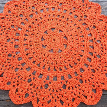 "Orange Patio Porch Cord Crochet Rug in 35"" Round Pineapple Pattern READY TO SHIP"