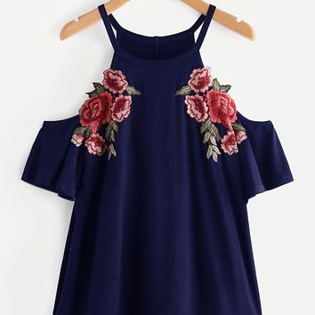 Embroidered Rose Patch Cold Shoulder Tee NAVY