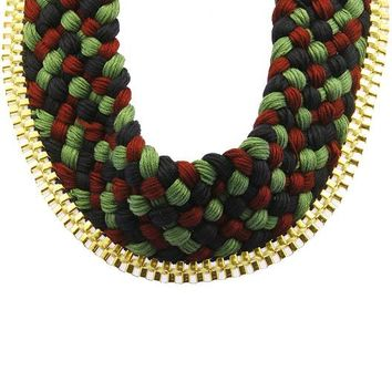 Navy Blue Braided Multi Color Thread Bib Necklace
