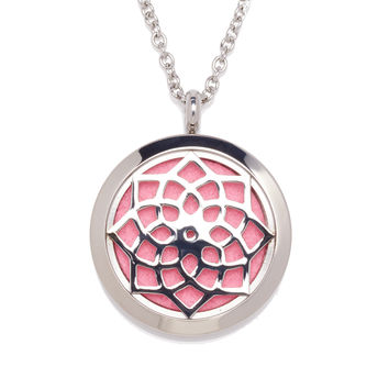 Mandala perfume locket. Stainless steel silver color with chain for perfumes and essential oils