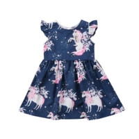 Children's Unicorn Casual Dress (blue)