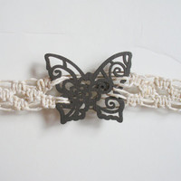 Wood Butterfly Bracelet on White Hemp in Diamond Lace Pattern, ready to ship. $13.00