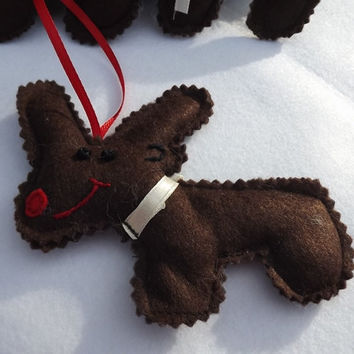 Christmas ornament Christmas tree decoration Felt reindeer Hand sewing ornament Reindeer Felt reindeer set of six