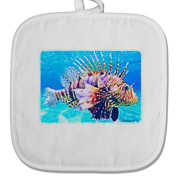 Lionfish in Watercolor White Fabric Pot Holder Hot Pad by TooLoud