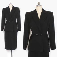 Vintage 40s SUIT / 1940s Tailored BLACK Wool Gabardine Blazer Jacket & Pencil Skirt Set XS