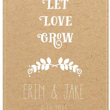 25 Customized Eco-Friendly Let Love Grow Wedding Seed Favor Kraft Envelopes, 5x7 Wedding Favors