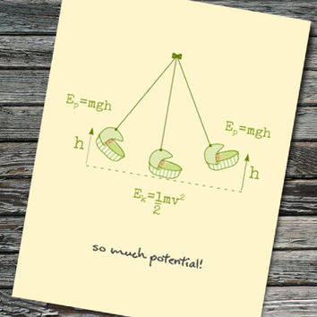 Potential Energy Nerdy Baby Shower Card | Physics, Math Equations, Kinetic Energy | Teacher, Student, Professor, Scientist, Physicist