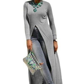 Grey High Front Slit Long Shirt Dress Top