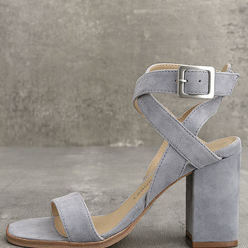 Chinese Laundry Sitara Chambray Suede Leather High Heel Sandals