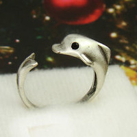 Dolphin Ring Women's Teen's Retro Finished Silver Ittle Dolphin Ring Jewelry