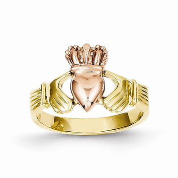 14kt two tone gold ladies claddagh ring