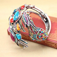 Stylish Silver Alloy Phoenix Bracelet Embellished with Colorful Gem by unusual