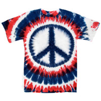 Patriotic Peace Sign Tie Dye T Shirt on Sale for $17.95 at HippieShop.com