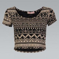 Aztec Print T-Shirt Crop Top