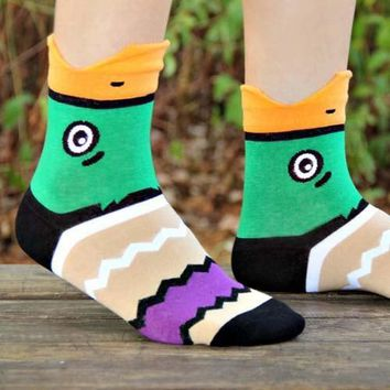 Mallard Wild Duck Bird Shaped Animal Short Cotton Socks for Women