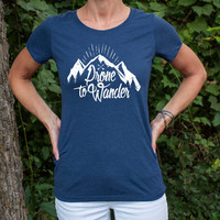 Prone to Wander - Women's triblend vintage style t-shirt in White Fleck or Navy - Gypsy - Boho Chic - Hipster - Free Spirit