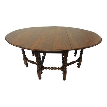 Pre-owned Exquisite Antique Style Gate Leg Dining Table