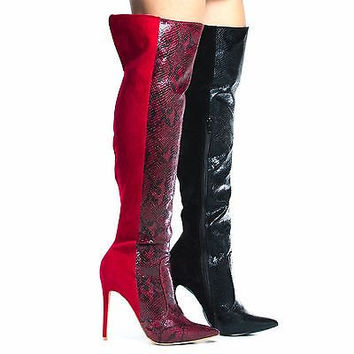 Saleen Red By Shoe Republic, High Hell Thigh High Dress Boots w Snake Print / Suede Combo