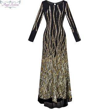 Angel-fashions  Round Neck Long Sleeves Sequin Transparent Column Maxi Dress robe de soiree Black 288