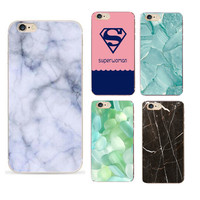 Shopnelo Marble And Super Women Cute Patterns coque Phone Cases For iPhone 4 4s 5 5s 5c se 6 6s plus