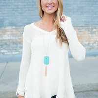 You and I Distressed Knit Peek-a-Boo Shoulder Sweater Top Ivory