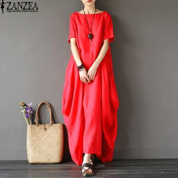 2018 ZANZEA Womens O Neck Short Sleeve Kaftan Baggy Vestido Loose Casual Party Cotton Linen Solid Maxi Long Dress Plus Size NEW