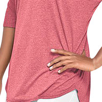Open Shoulder Scoop Neck Stretched Knit Tee