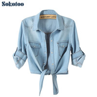 Sokotoo All-match denim shirt female sweep tieclasps lacing denim outerwear cardigan short design for women blouse Free shipping