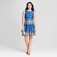 Women's Printed Scuba Pleat Dress - Melonie T Blue/Orange