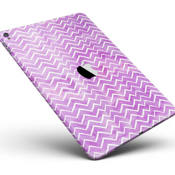 """White Chevron Over Purple Grunge Surface Full Body Skin for the iPad Pro (12.9"""" or 9.7"""" available)"""