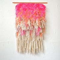 Furry Electric Cherry Fields - Handwoven tapestry