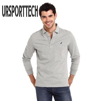 2017 Casual Long Sleeve Business Mens Polo Shirts Male Printed Fashion Brand Polo Shirt Designer Men Tenis Polos Camisa Social