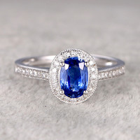 1.03ct Oval Cut Sapphire Engagement Ring Diamond Wedding Ring 14K White Gold Big Halo Antique Design