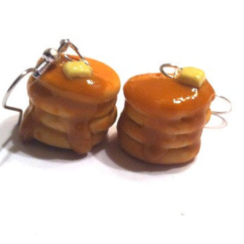 Pancake Stack Dangle Earrings, Polymer Clay Food Jewelry