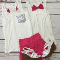 Sequin Bow Back Tank: Pink