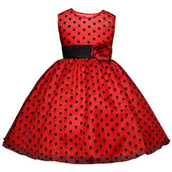 Princess Summer Girl Dress Classic White Black Polka Dots Children Dancing Dresses For Girls