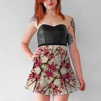 Red Deco Geometric Nature Collage Floral Motif Flare Skirt by Daniel Ferreira-Leites (Flare Skirt)