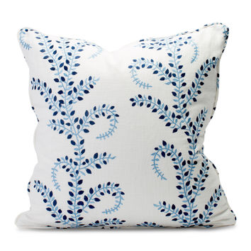 Embroidered Blue Vine Pillow