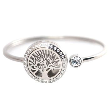 25mm Magnet Crystal Stainless steel Aromatherapy locket Bracelet Bangle essential oil diffuser locket Tree of Life bracelet