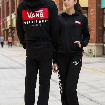 One-nice™ Vans Women Men Lover Hooded Top Sweater Pullover Sweatshirt Hoodie Pants Trousers Sweatpants Sportswear