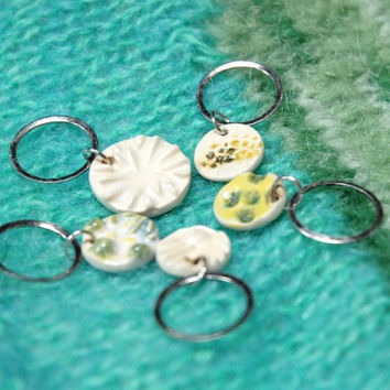 Pottery stitch marker,pottery bead tags,clay stitch markers,knitting tools,knitting tag,crochet markers,stitch marker set,clay knitting tool