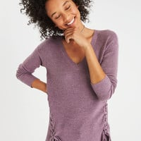AE Lace-Up V-Neck Jegging Pullover, Purple